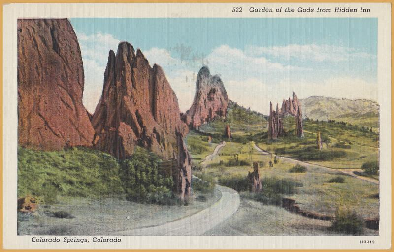 Colorado Springs, Colo., Garden of the Gods from Hidden Inn -