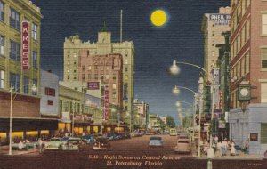 Florida St Petersburg Night Scene On Central Avenue Curteich sk1484a