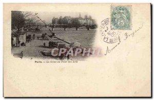Paris - The Seine at the Pont des Arts - Old Postcard