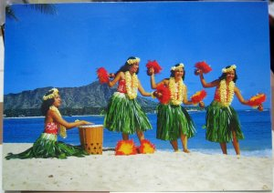 United States Hula Dancers on the Shores Waikiki beach - posted 1990