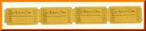 4 Vintage Movie Theatre Tickets, Admit One, Art Deco, 1950's?