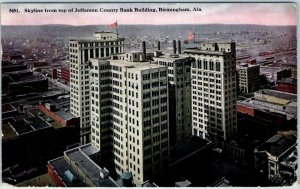 1914 Birmingham, AL Postcard Skyline from top of Jefferson County Bank Bldg