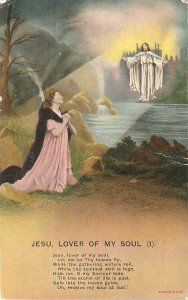Lady praying. Jesu, lover of my soul (1) Vintage Bamforth Religious postcard