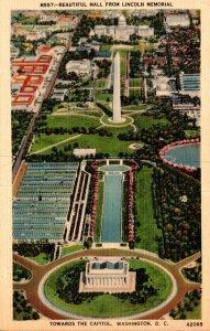 Washington D C Washington Beautiful Mall From Lincoln Memorial Towards Capitol