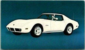 1975 CHEVROLET CORVETTE Automobile Advertising Postcard White Car Chevy / Cancel