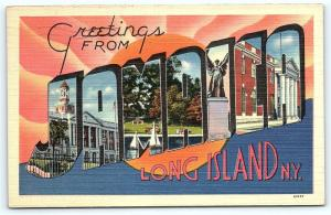 Postcard NY Jamaica Large Letter Greetings from Jamaica New York