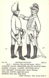 Military Set 34 Madras Cavalry 1801-8 No. 5 - Officers, 5th and 6th Regts. 1805