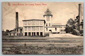 Foxboro MA~Caton Brothers Hat Factory~Plant Across Railroad Tracks~1908 B&W PC