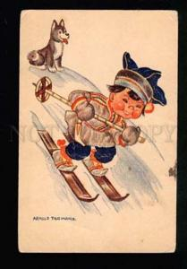 038473 Finnish boy & LAIKA DOG SKIING by Tilgmann Old PC