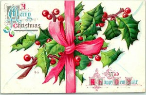 1910s CHRISTMAS Greetings Embossed Postcard Red Ribbon Holly Series No. 3