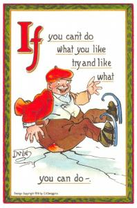 Comic Funny Joke Postcard Ifs & Ands, If you can't do what you like, Repro C89