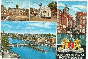 Amsterdam Souvenir, Multi view, 1969 used Postcard