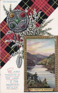 The Macqueens, Scottish Clan, Tartan, Flower and pendant, View of By Mount & ...
