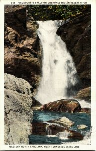 Oconolufty Falls, Cherokee Indian Reservation Western NC Vintage Postcard C37