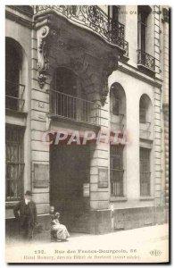Old Postcard Rue des Francs Bourgeois Paris Hotel Hotel de Breteuil became Ro...