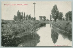 Payette Idaho~Two-Story Home Built by Irrigation Ditch~c1910 B&W Postcard