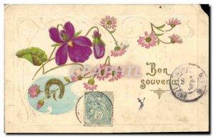 Old Postcard Fantasy Flowers Horseshoe