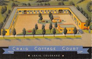 Craig Colorado Cottage Courts Aerial View Linen Antique Postcard K19811