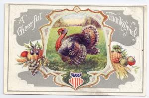 Patriotic Turkey Stars and Stripes Shield Vintage Thanksgiving Postcard Embossed