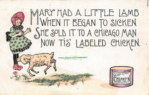 Comic Chicago IL Salesman~Mary Had a Little Lamb Now It's Can of Chicken~1908
