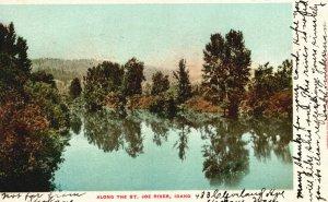 Vintage Postcard 1905 Along The Saint Joe River Idaho ID Nature