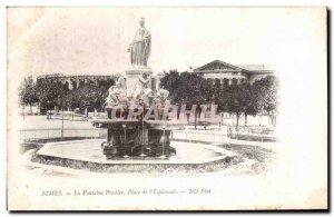 Old Postcard Nimes Fountain Square Pradier I Esplanade