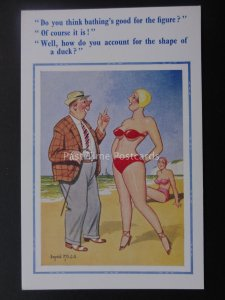 Donald McGill Postcard SEASIDE SWIMMING BATHING IS GOOD FOR YOUR FIGURE..c1950's