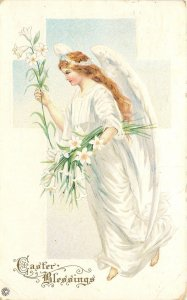Easter~Barefoot Angel Brings Lilies~Luminous White Gown~Emb~Stecher Litho Ser 4A