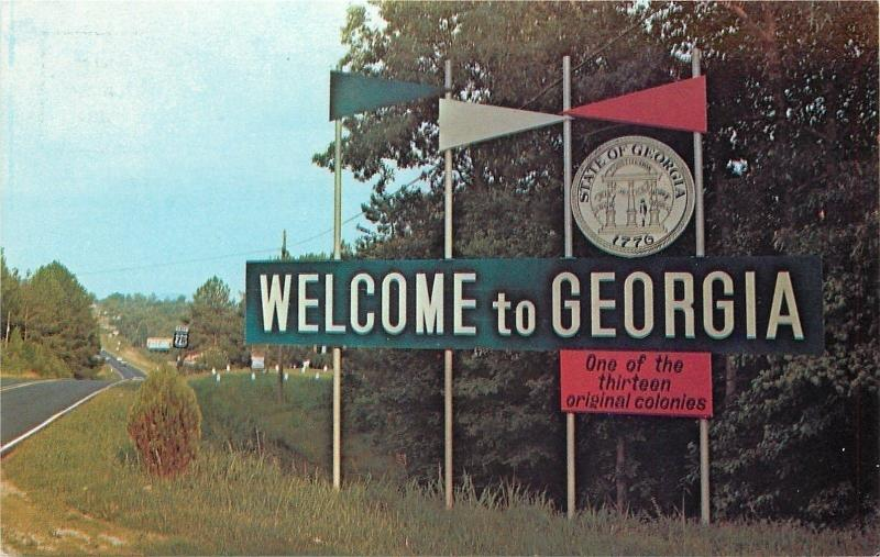 Georgia State Highway Welcome Sign~Pennants~Original 1776 Colony~1960s Postcard