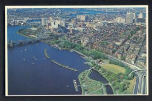 Boston, Mass/MA Postcard, Aerial Charles River/Storrow Drive
