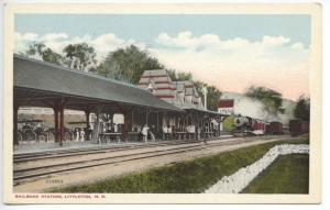 Littleton NH Railroad Station Train Depot Horse Wagons Postcard