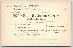 Philadelphia~Lippincott Publ~Vampires & Mademoiselle Réséda~POPPÆA~J Gordon 1890