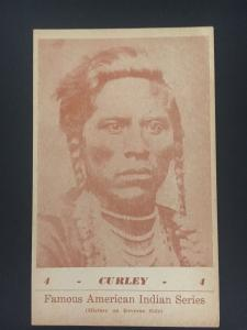 Mint 1941 Sepia Picture Postcard Native American Indian Custer Scout Curley