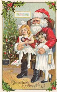 Christmas Greetings Red Suited Santa Claus w/Young Girls w/Doll Postcard