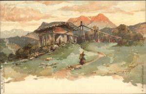 Aus Dem Tuxerthal Bei der Brennerbahn c1900 Lithograph Postcard