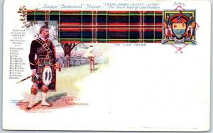 c1900s SCOTLAND Postcard CLAN MacPHERSON Tartan, Slogan Coat of Arms - UNUSED