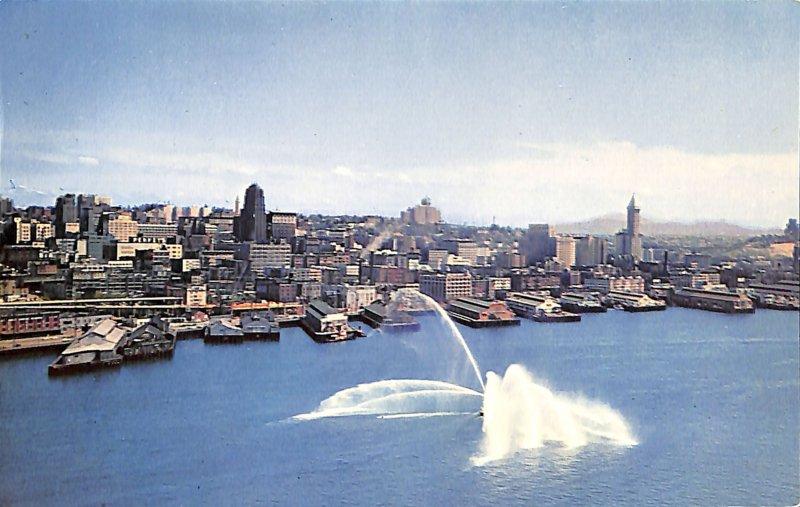 SEATTLE, WASHINGTON, fireboat, skyline, spay, buildings, storehouse, bay