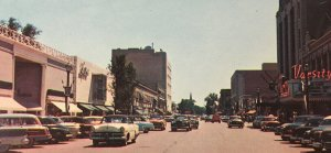Sherman Street View Looking South Postcard 50s Cars Woody Chevy Theater Stores