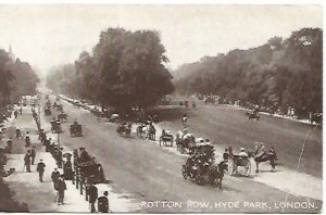 Rotton Row Hyde Park London Real Photograph Street Scene Horse and Buggies