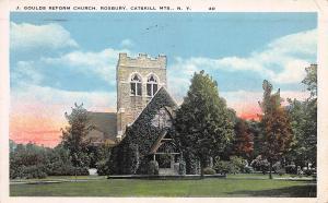 J. Gould's Reform Church, Roxbury, New York, Early Postcard, Used in 1928