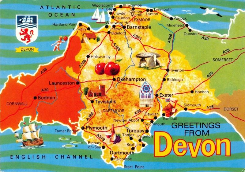 Vintage UK England Map Postcard, Greetings from Devon by John Hinde Ltd #305