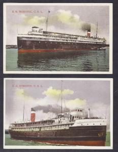 Canada Ontario Huronic Noronic 2 Steamships 1930s PPCs