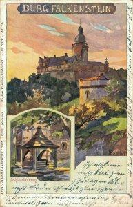 Germany - Burg Falkenstein Schlossbrunnen Litho 04.53