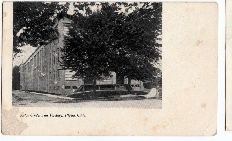 c1910 PIQUA Ohio Postcard ATLAS UNDERWEAR FATORY
