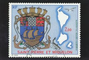 Coat of Arms of the Islands Stamp, Saint-Pierre et Miquelon, France, 50-70s
