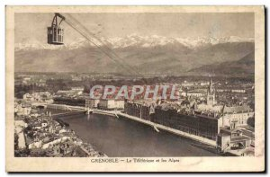 Old Postcard Grenoble Teleferique And The Alps