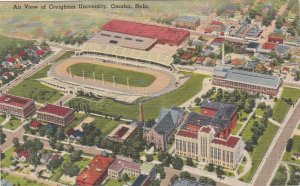 Nebraska Omaha Creighton University Air View Showing Stadium 1944 sk6181