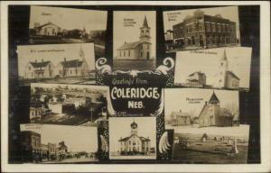 Coleridge NE Multi-View w/ RR Train Station Depot Real Photo Postcard c1910