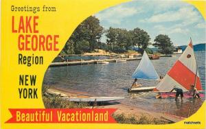 Hague New York Lake George Sailboats Glen Falls Colorpicture postcard 10099