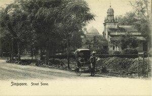 straits settlements, SINGAPORE, Street Scene, Rickshaw (1905) Postcard